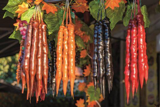 Churchkhela at the street market. Churchkhela georgian national food, tasty food
